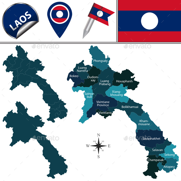 Map of Laos with Named Provinces - Travel Conceptual