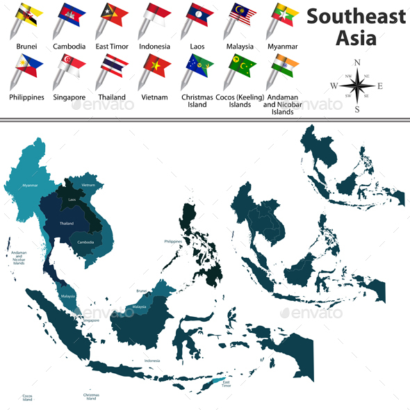 Political Map of Southeast Asia - Travel Conceptual