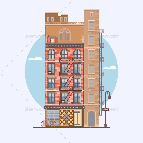 Flat Design of Retro and Modern City Houses - Industries Business