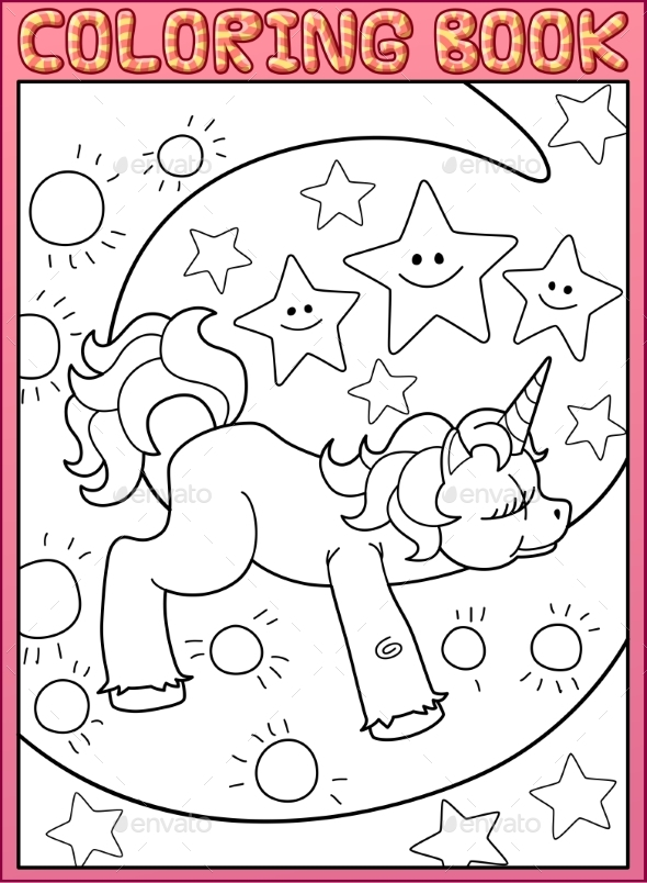 Coloring Book Page Cute Little Unicorn on the Moon - Animals Characters