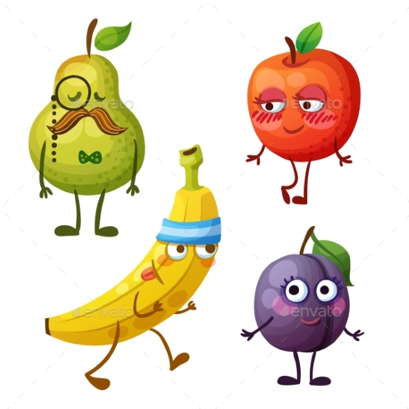 Funny Fruit Characters Isolated on White - Miscellaneous Vectors