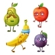 Funny Fruit Characters Isolated on White