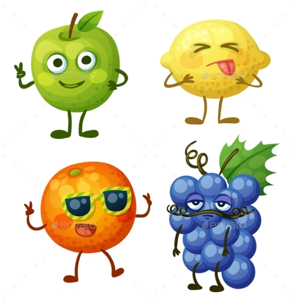 Fruit Characters Isolated on White - Miscellaneous Vectors