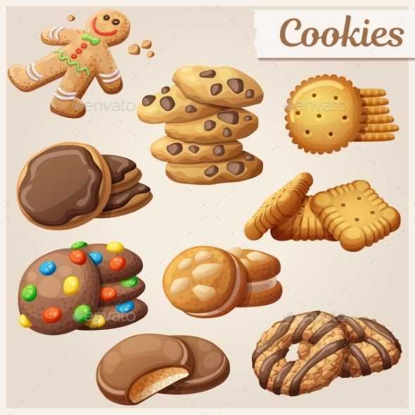 Set of Delicious Cookies. Vector Illustration - Food Objects