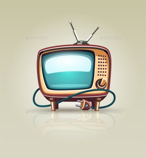 Vintage Retro TV Set Icon - Retro Technology