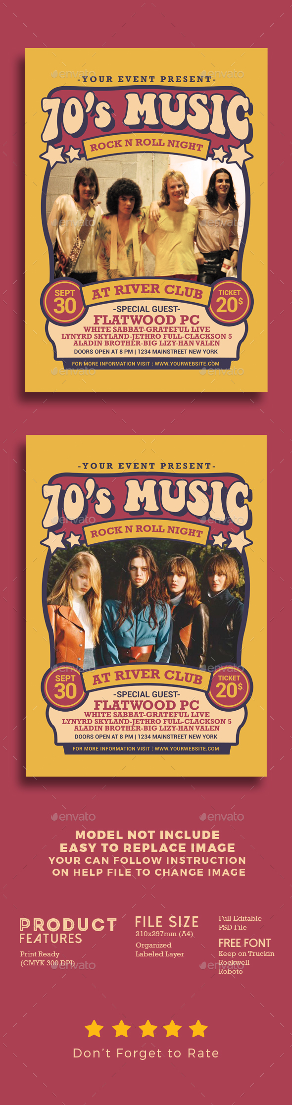 70's Music Show - Events Flyers