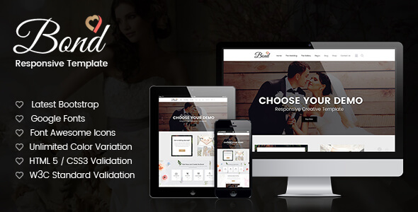 ThemeForest Bond Wedding Site HTML5 Template 20510994