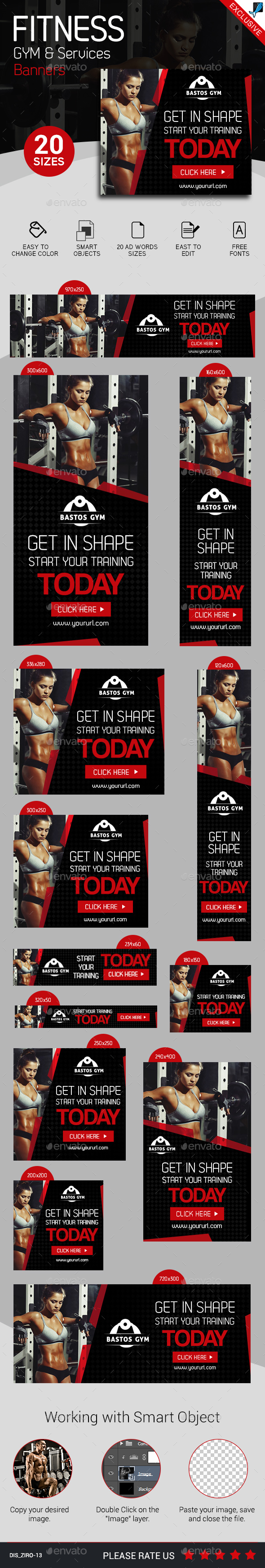 Fitness Gym and Services Ad Banners Set 2 - Banners & Ads Web Elements
