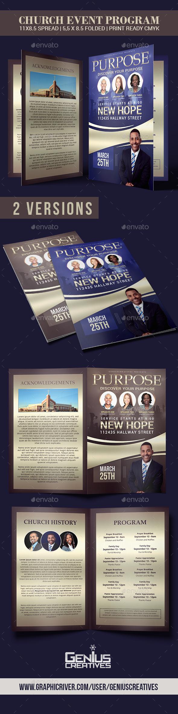 Purpose Church Program Template - Informational Brochures