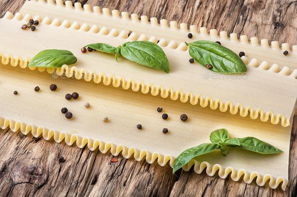 Uncooked lasagna pasta - Stock Photo - Images