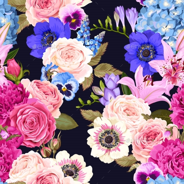Seamless Pattern with Garden Flowers - Flowers & Plants Nature
