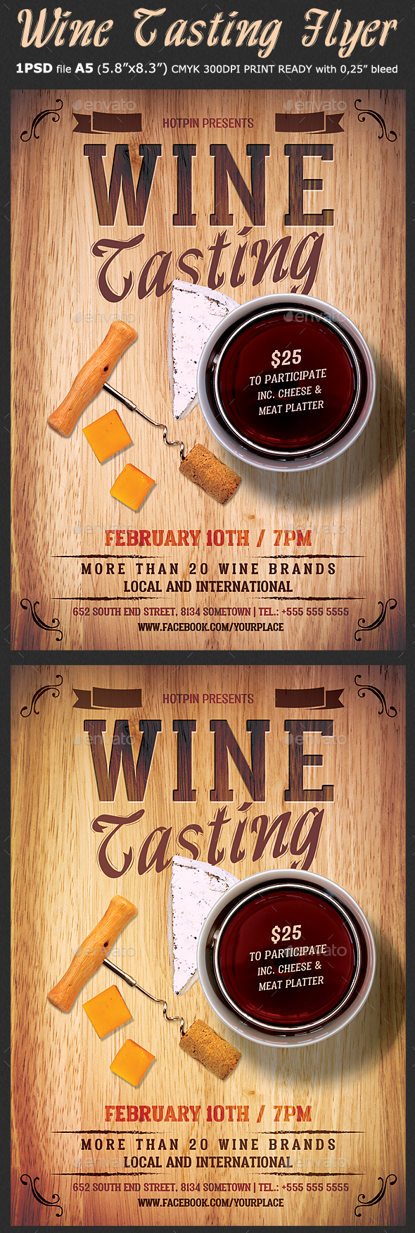 wine tasting flyer template by hotpin graphicriver. Black Bedroom Furniture Sets. Home Design Ideas