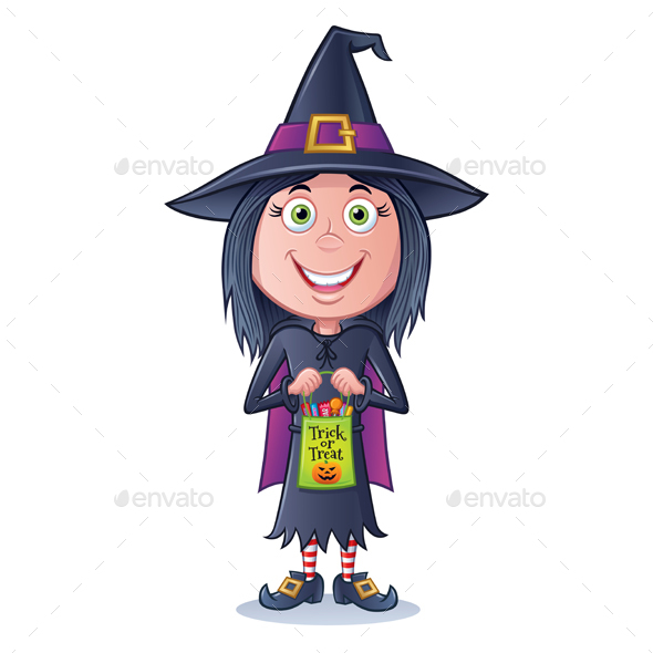 GraphicRiver Girl Witch Trick or Treater 20511806