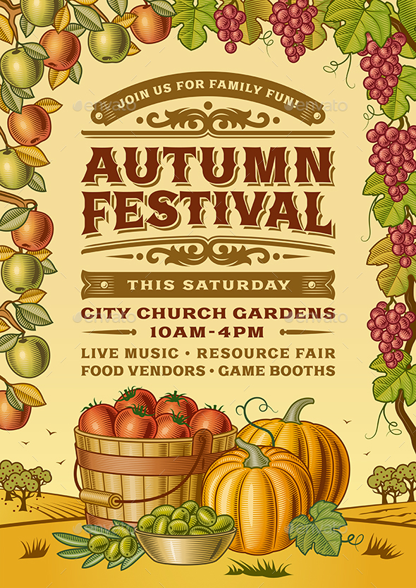 Vintage Autumn Festival Poster - Food Objects