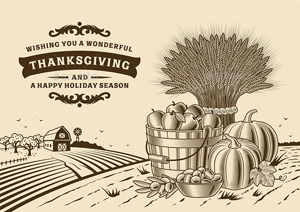 Vintage Thanksgiving Landscape Brown - Food Objects