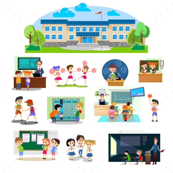 Back To School Set of Pictographs, Childrens Life - People Characters