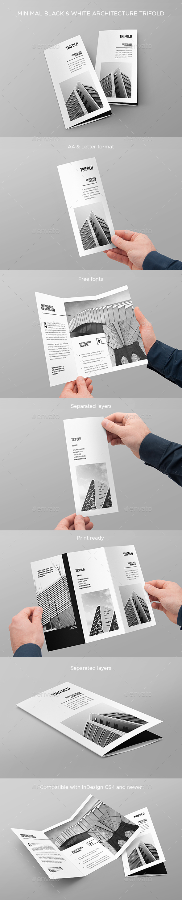 Minimal Black & White Architecture Trifold - Brochures Print Templates