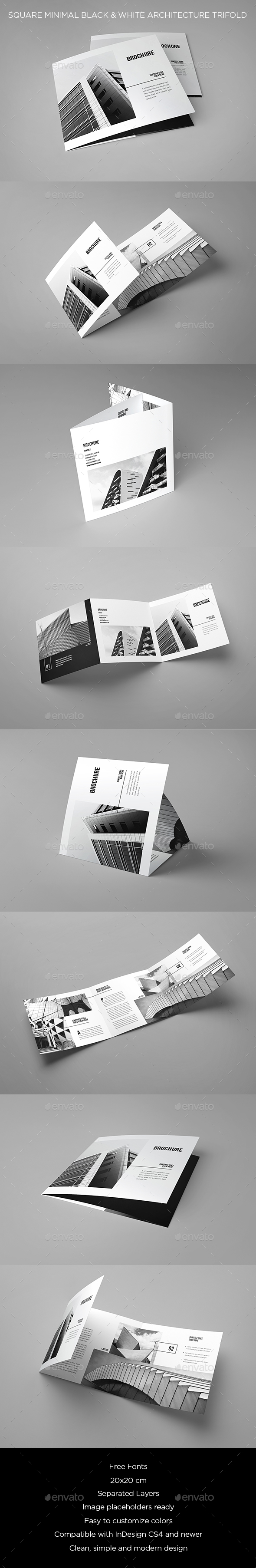 Square Minimal Black & White Architecture Trifold - Brochures Print Templates
