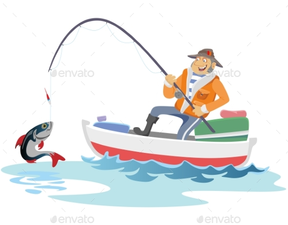 Fisherman Sits on Boat with Trolling Boat - People Characters