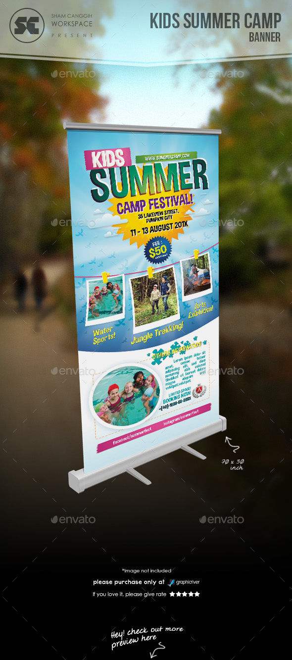 Kids Summer Camp Banner - Signage Print Templates