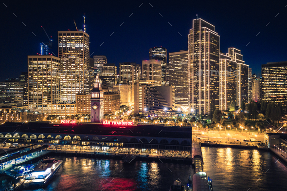 San Francisco Skyline and Ferry Building at Night with Holiday C