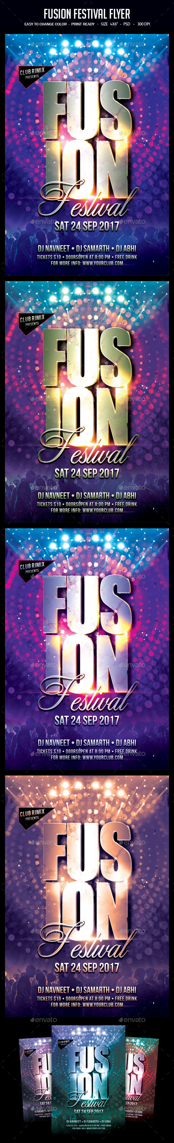 Fusion Festival Flyer - Clubs & Parties Events