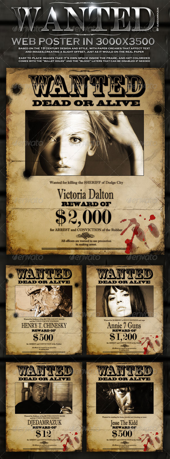 "Old ""Wanted"" Poster - Editable - Miscellaneous Graphics"