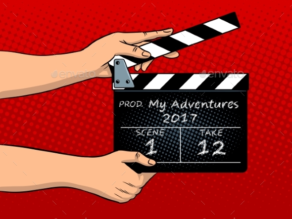 Movie Clapperboard Pop Art Vector Illustration - Miscellaneous Vectors
