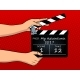 Movie Clapperboard Pop Art Vector Illustration