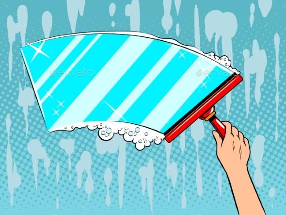 Hand Clean Window Pop Art Vector Illustration - Miscellaneous Vectors