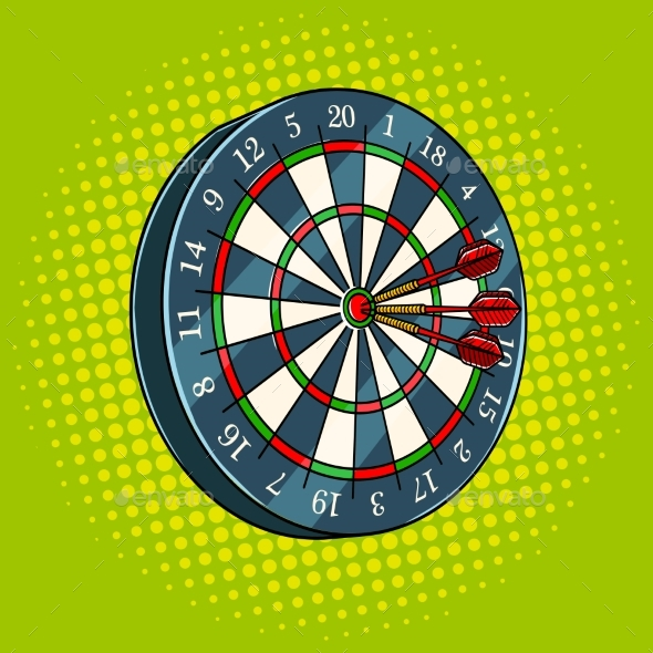 Darts Game Pop Art Style Vector Illustration - Sports/Activity Conceptual