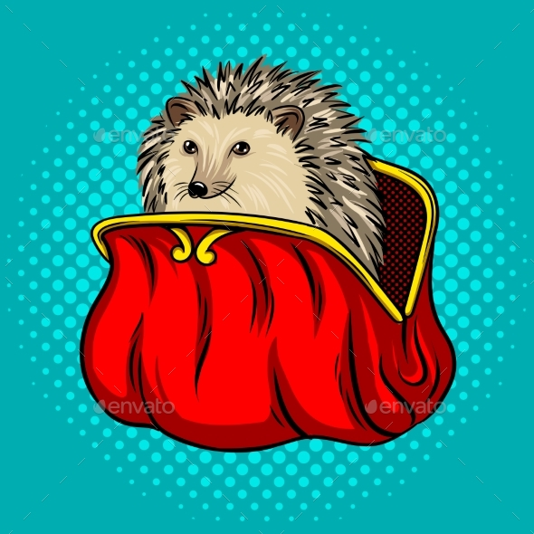 Hedgehog in a Purse Metaphor Pop Art Vector - Animals Characters