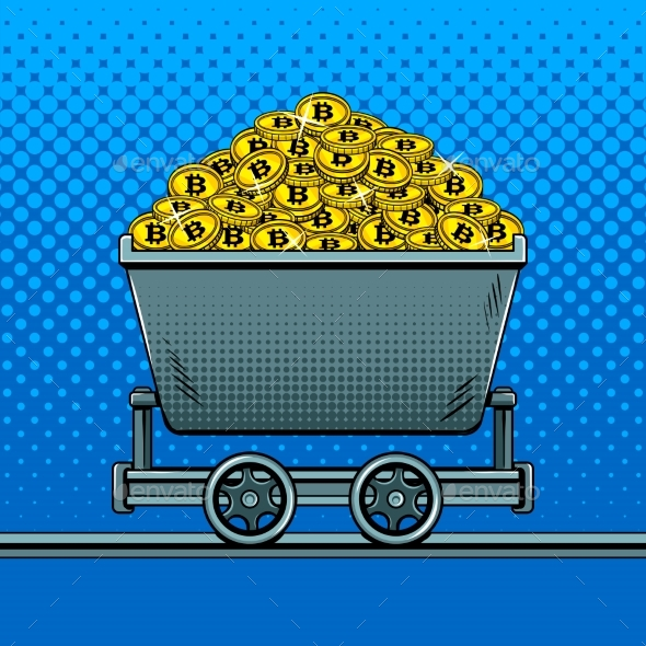 Bitcoin Money in Miner Trolley Pop Art Vector