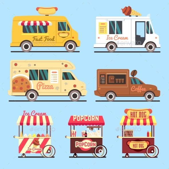 Street Fast Food Delivery Trucks Flat Set - Objects Vectors