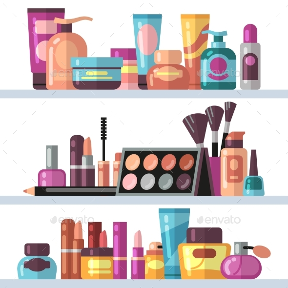 Cosmetic Bottles on Store Shelves. Woman Beauty - Objects Vectors