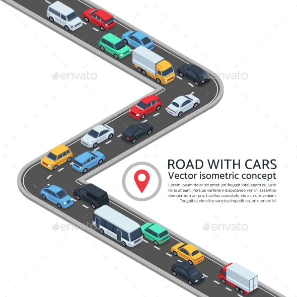 Isometric Street with Cars. 3d Highway and