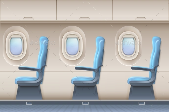 Passenger Airplane Vector Interior. Aircraft - Miscellaneous Vectors
