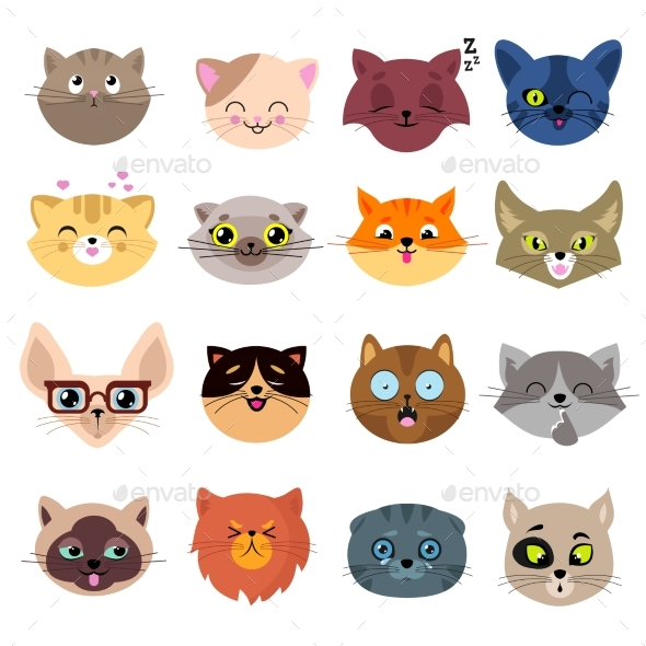 Fun Cartoon Cat Faces. Cute Kitten Portraits - Animals Characters