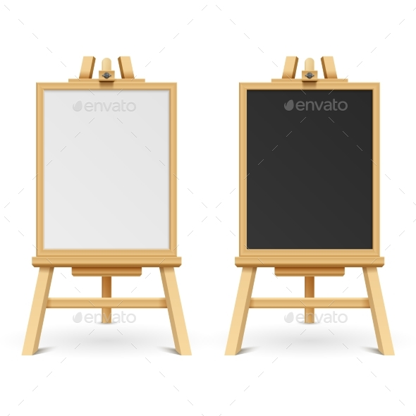 School Black and White Blank Boards on Easel - Objects Vectors