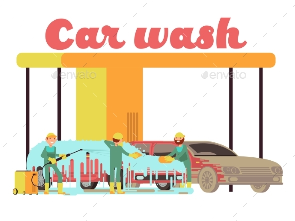 Car Wash Services Promotional Marketing Vector - Objects Vectors