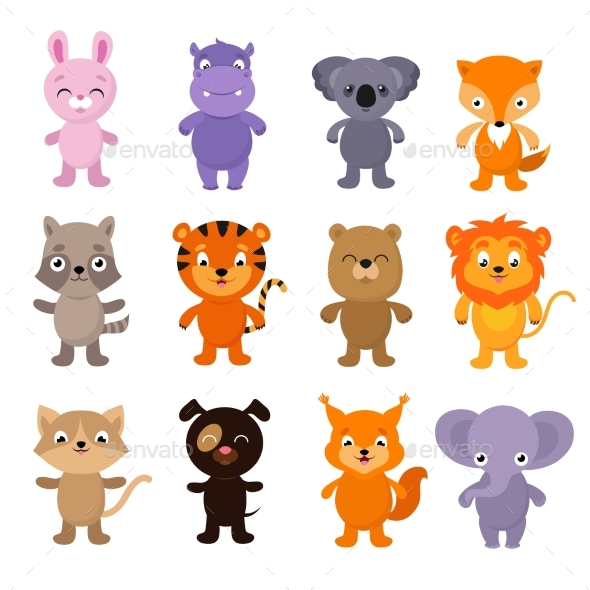 GraphicRiver Funny Cartoon Young Animals Vector Characters 20513344