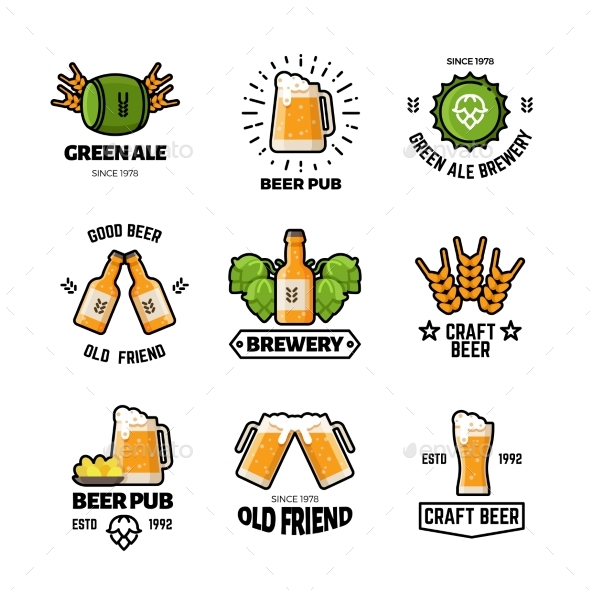 GraphicRiver Beer Pub Vector Logos and Emblems Brewery and 20513347