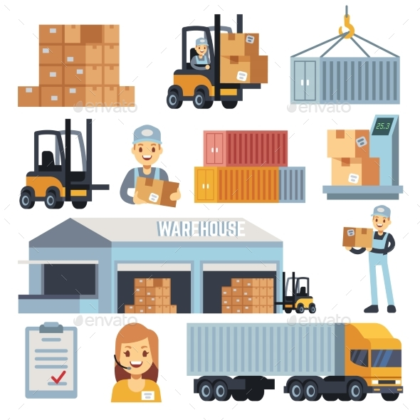 Merchandise Warehouse and Logistic Flat Vector - Objects Vectors
