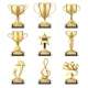 Realistic Golden Trophy Cups and Sports Awards