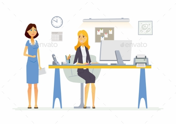 Office Scene - Modern Vector Cartoon Business - Concepts Business