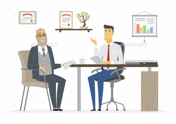 Office Meeting - Modern Vector Cartoon Business - Concepts Business