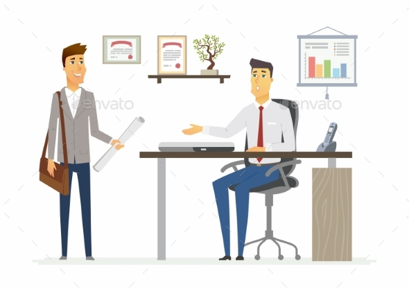 Office Day - Modern Vector Cartoon Business - Concepts Business