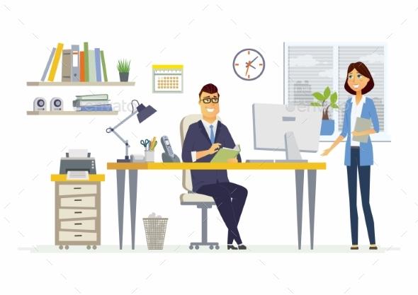 Office Meeting - Modern Vector Cartoon Business - Concepts Business