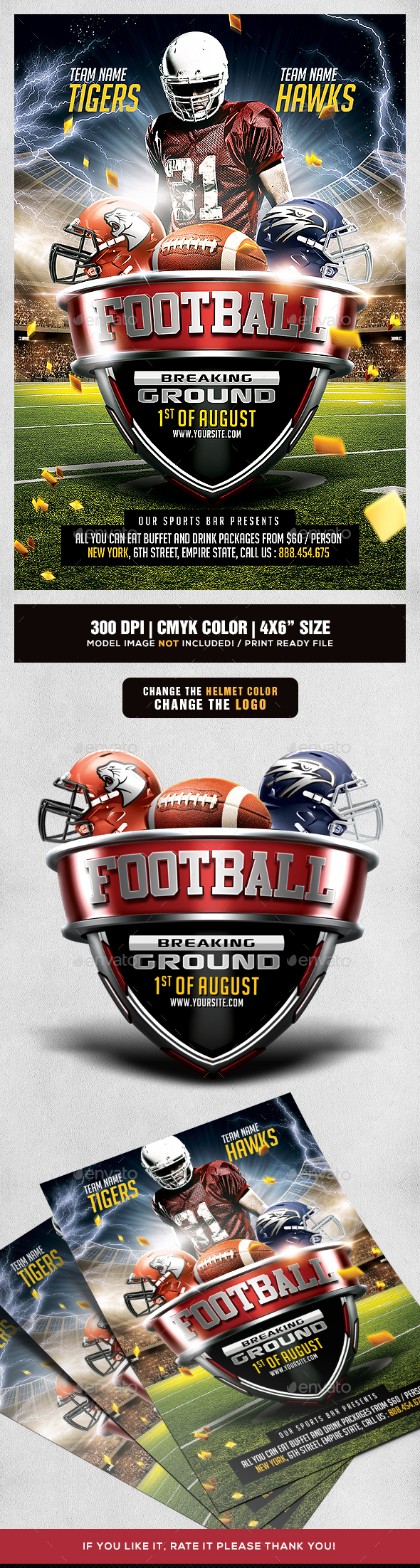 American Football Game Flyer Template - Sports Events
