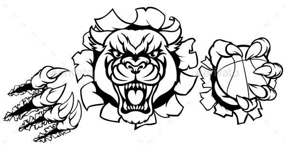 Black Panther Basketball Mascot - Animals Characters